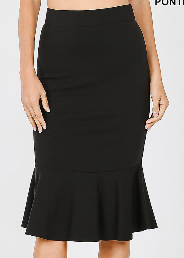 High Rise Black Peplum Skirt
