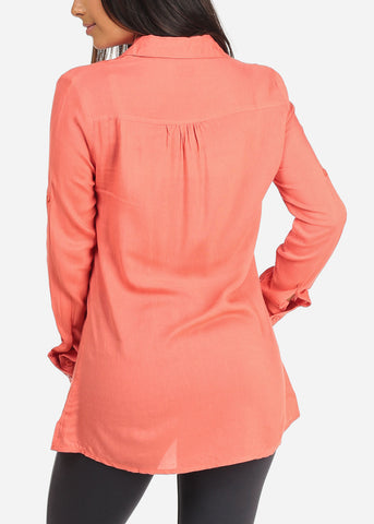 Women's Junior Ladies Casual Lightweight Loose Fit Long Sleeve Button Up Coral Tunic Blouse Top