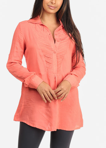 Button Up Coral Tunic Top