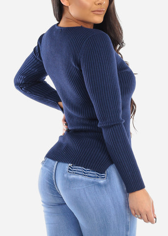 Image of Navy Ribbed Long Sleeve Sweater
