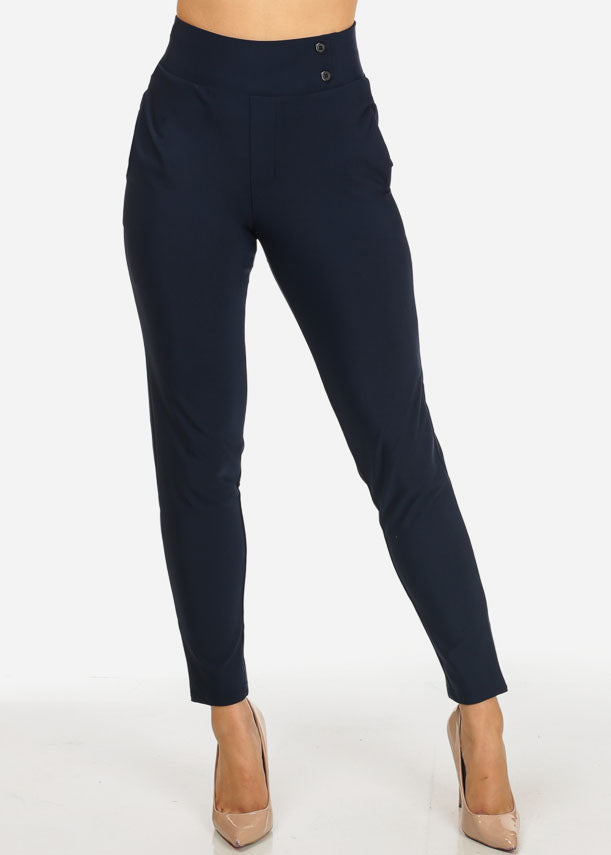 Navy 2-Pocket Pull On Pants