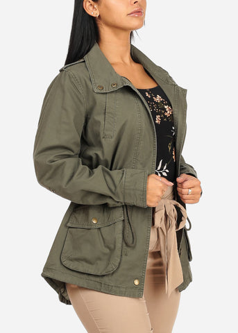 Image of Zip Up Olive Jacket