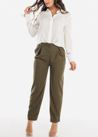 High Rise Straight Leg Olive Dress Pants