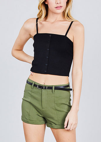 High Rise Belted Olive Shorts