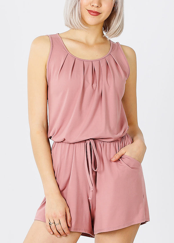 Sleeveless Elastic Waist Rose Romper