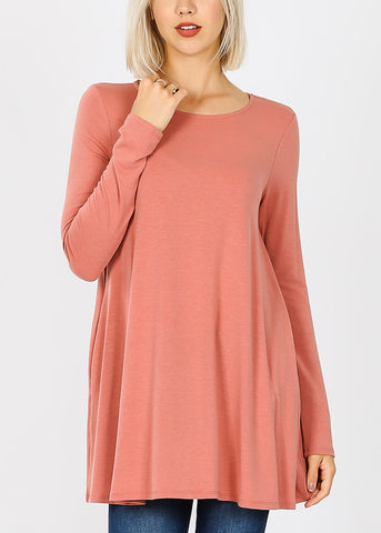 Ash Rose Flared Pockets Tunic Top