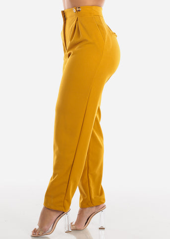 Image of High Rise Mustard Palazzo Pants