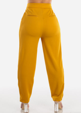 High Waisted Ankle Dressy Mustard Pants