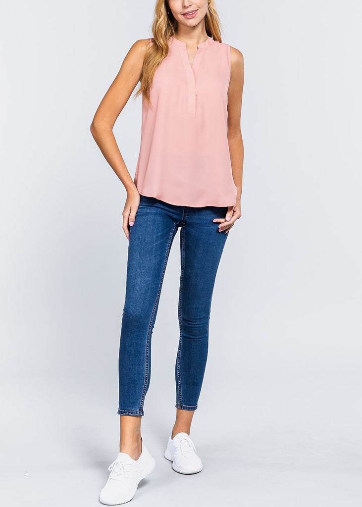 Pink Sleeveless Dressy Top