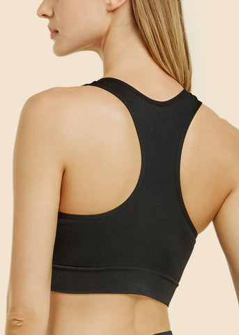 Black Seamless Sports Padded Bra