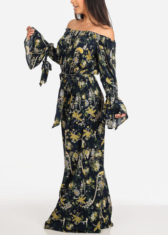 Women's Junior Ladies Sexy Cute Stylish Moda Trendy Off Shoulder Linen Navy Floral Print Wide Legged Jumper Jumpsuit
