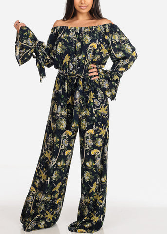 Image of Women's Junior Ladies Sexy Cute Stylish Moda Trendy Off Shoulder Linen Navy Floral Print Wide Legged Jumper Jumpsuit