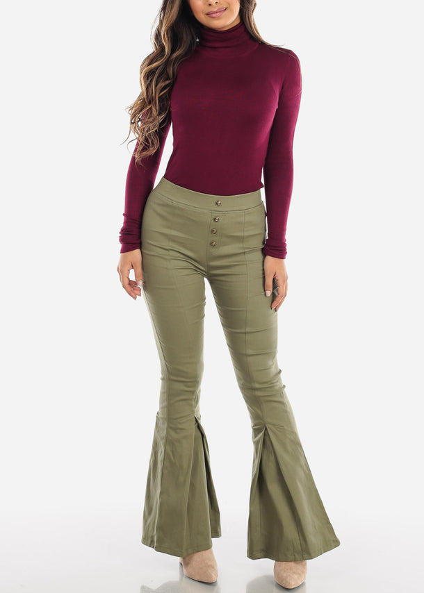 Burgundy Turtle Neck Solid Top
