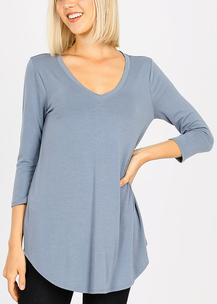 Blue Grey Round Hem Tunic Top