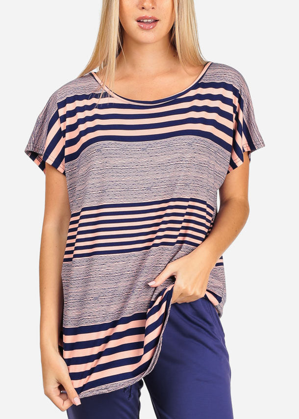 Women's Junior Casual Going Out Pink And Navy Stripe Printed Tunic Blouse Top