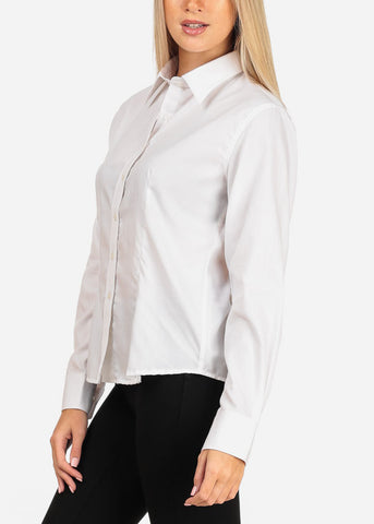 Image of Women's Junior Lady Casual Formal Professional Business Career Wear Long Sleeve White Shirt Blouse