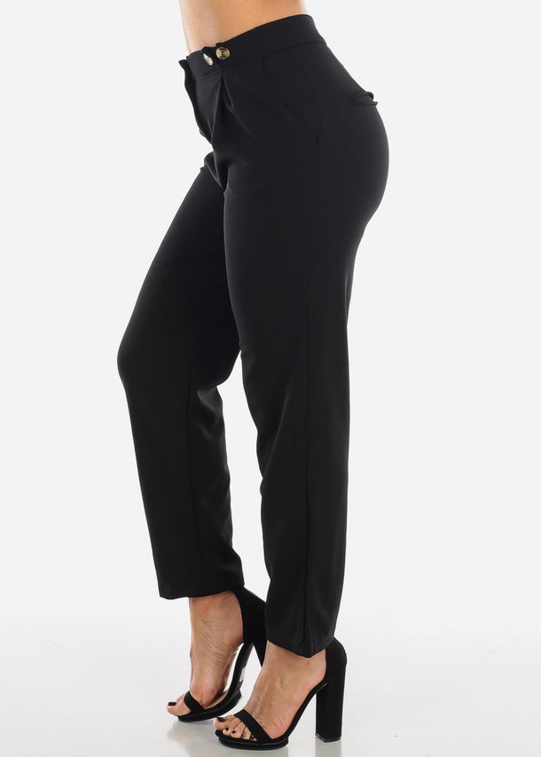 Black High Waisted Ankle Dressy Pants