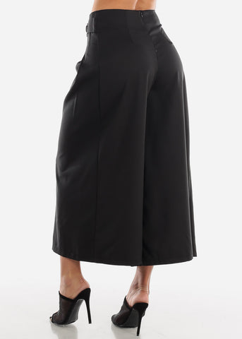 Image of Black Wide Legged Cropped Trousers