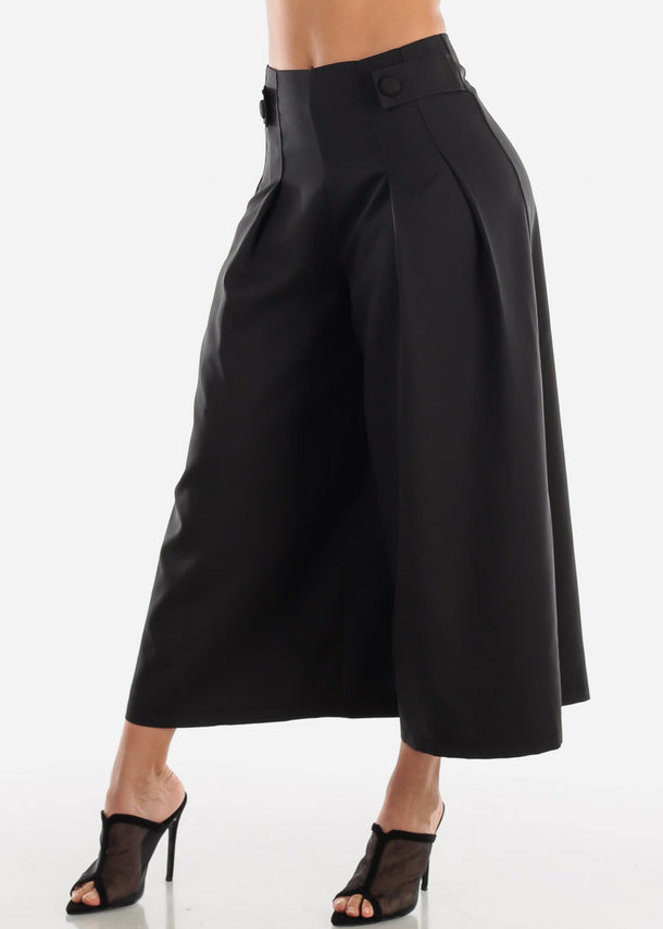 Black Wide Legged Cropped Trousers
