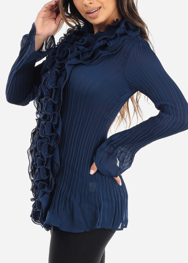 Ruffled Navy Pleated Blouse