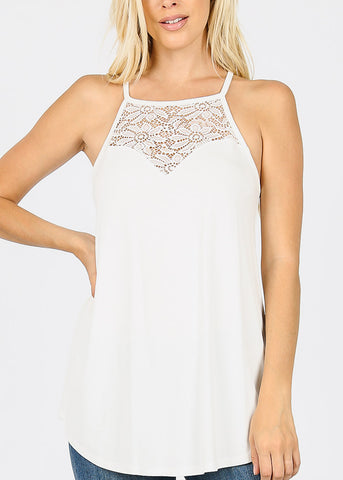 Lace Inset Ivory Tunic Top