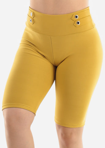 Image of Mustard Button Detail Shorts
