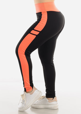 Image of Black & Coral High Waist Leggings
