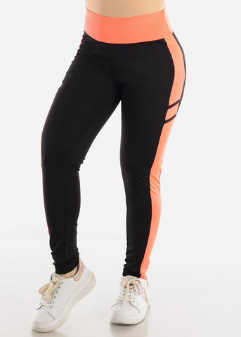 Black & Coral High Waist Leggings