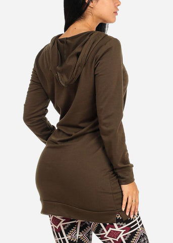 Hooded Olive Tunic Sweater