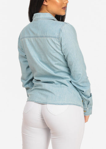 Image of Button Down Light Denim Top