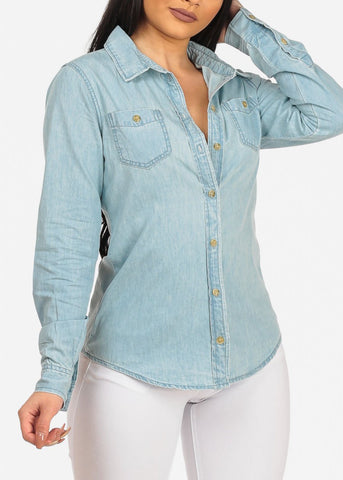 Image of Women's Trendy Casual Button Down Light Wash Summer Denim Shirt Top