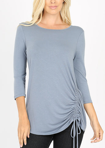 Side Ruched Blue Grey Tunic Top