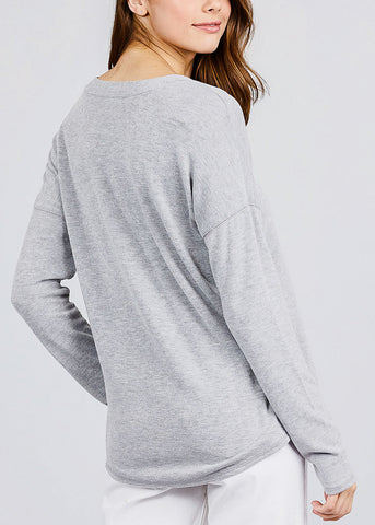 Image of Grey V-Neck Button Down Cardigan