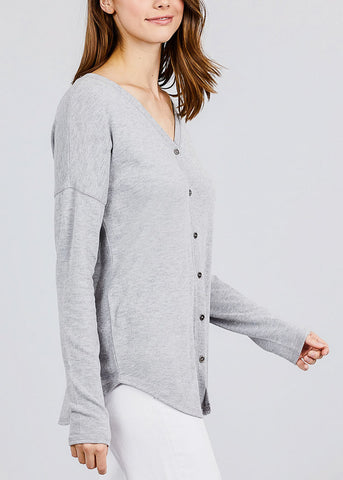Grey V-Neck Button Down Cardigan