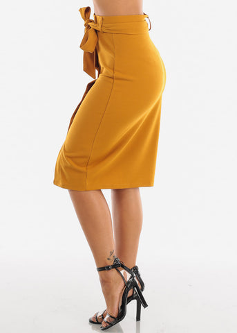 Image of High Waisted Button Down Mustard Midi Skirt With Tie Belt For Women Ladies Junior Office Business Career Wear At Affordable Price On Sale