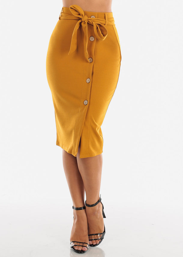 High Waisted Button Down Mustard Midi Skirt With Tie Belt For Women Ladies Junior Office Business Career Wear At Affordable Price On Sale