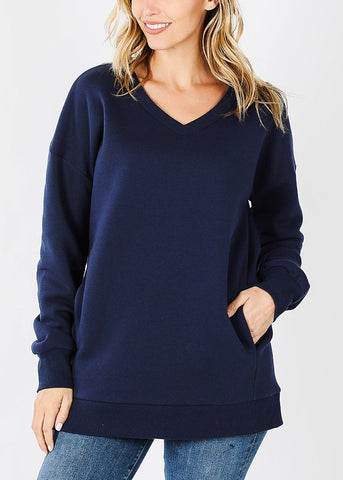 Navy V-Neck Sweatshirt W Pockets