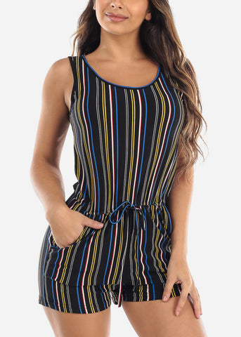 Black Multicolor Stripe Romper