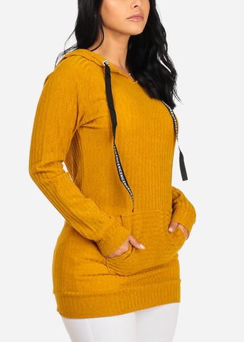 Knitted Mustard Tunic Top W Hood
