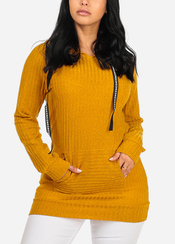 Cheap Knitted Mustard Tunic Top W Hood