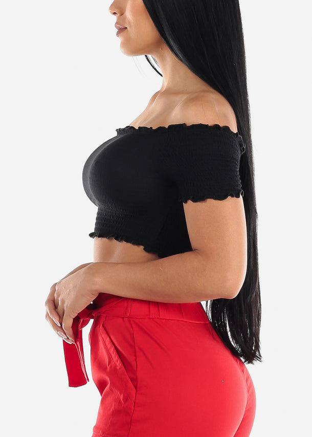 Black Smocking Crop Top