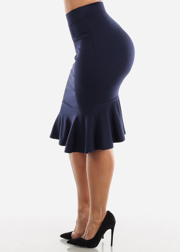 High Rise Navy Peplum Skirt