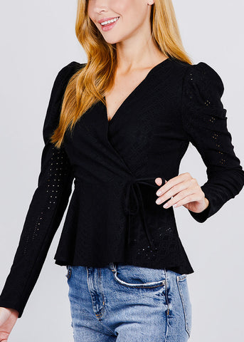 Image of Waist Ribbon Black Top