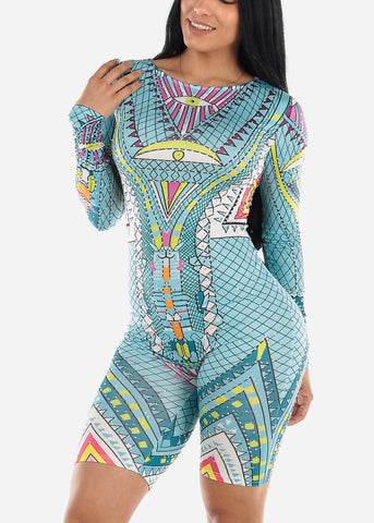 Image of Aztec Print Light Blue Romper