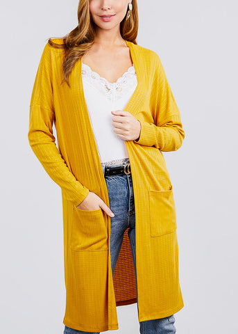 Mustard Two Pockets Maxi Cardigan