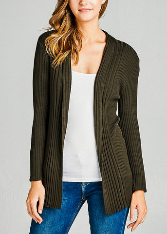 Olive Ribbed Knit Cardigan