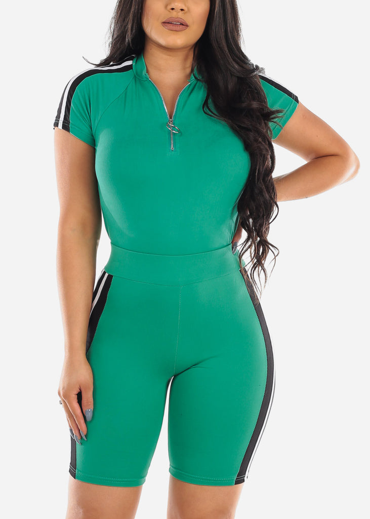 Sexy Short Sleeve Green Sporty Stripe Crop Top And Biker Shorts Two Piece Set For Women Ladies Junior 2019 Tracksuits