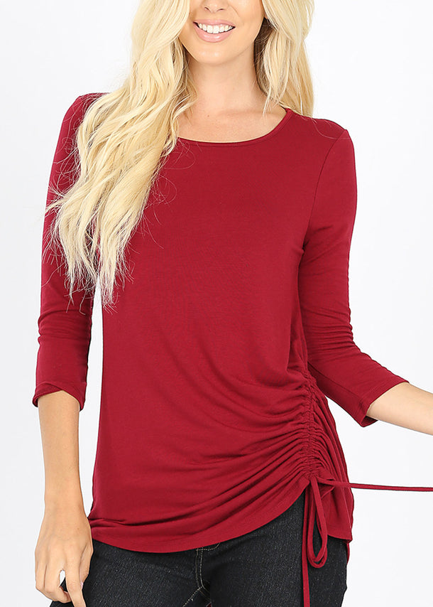 Side Ruched Wine Tunic Top