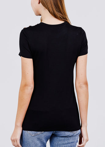 Image of Black Button Detail Top