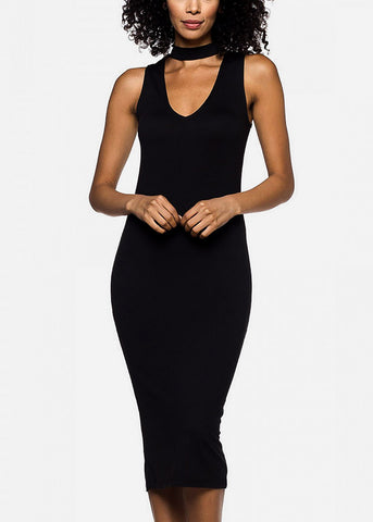 Black Choker Bodycon Midi Dress